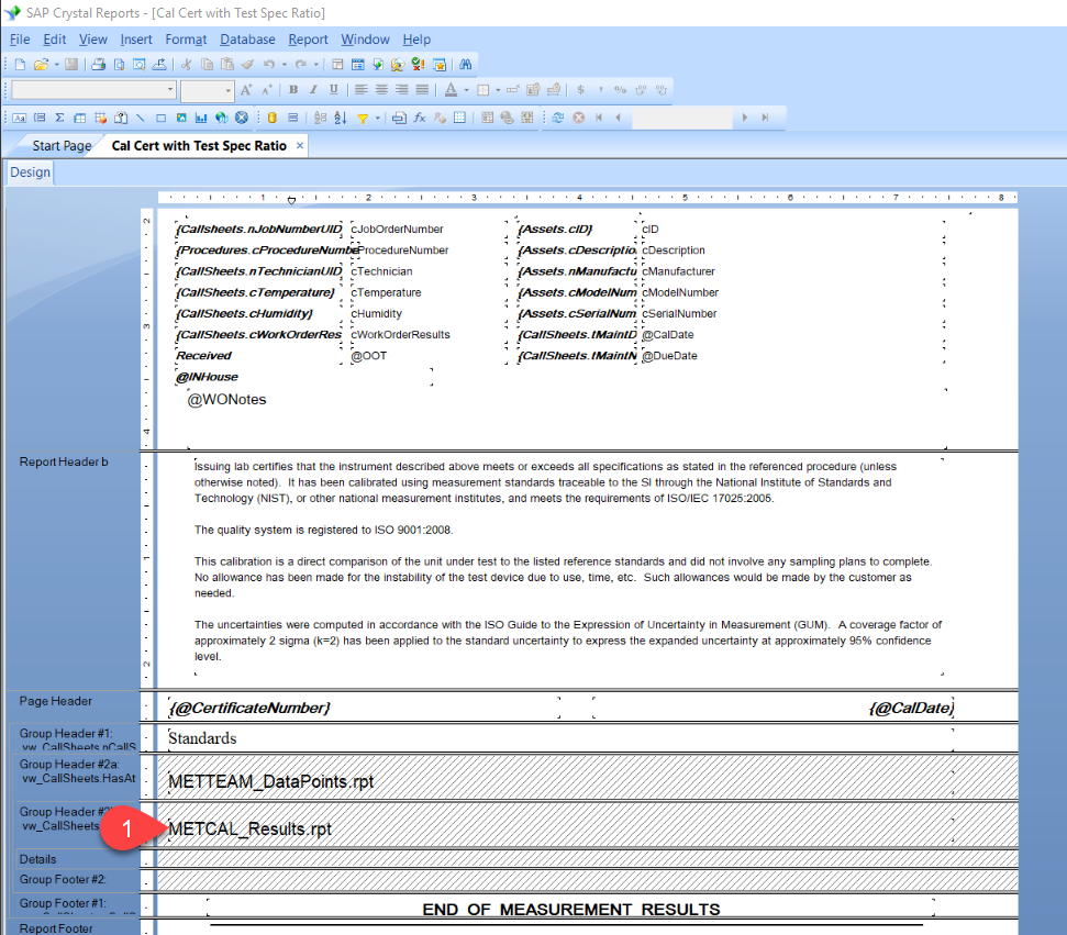 How To Resolve Report Bugs In Met Team Version 22 Fluke Simple Crystal Tester Open The Reports And Double Click On Metcal Results Subreport It